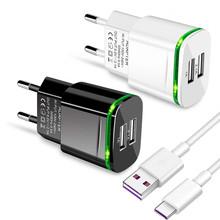 2-USB porty LED ściany wtyczki zasilania ładowarka z typu C Micro kabel do ładowania USB dla Redmi 3 3s 4 4A 5 Plus 5A 6A 7A 8A 9A 9C uwaga 4X 6 7 tanie tanio Saicrezy CN (pochodzenie) Typ C Podróży EU Plug Wall Power Adapter 100-240 V 1 2A