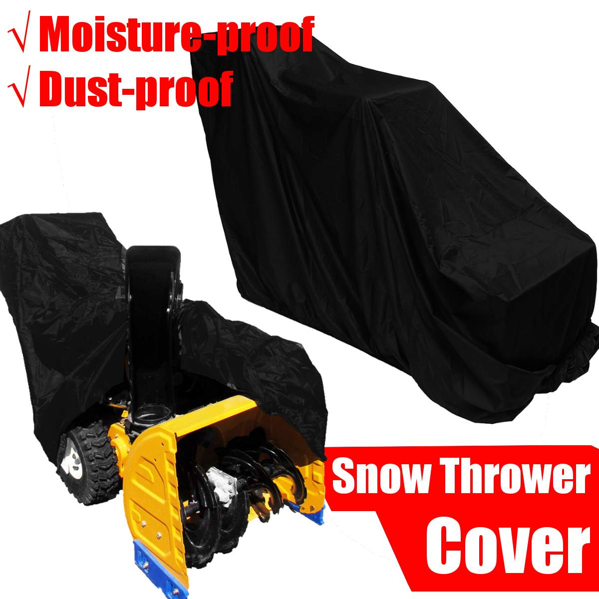 Прочный чехол для снегоочистителя из полиэфирной ткани, защита от снега, защита от ветра, защита от УФ-лучей, черный, 158x77x110 см, защита от укус...