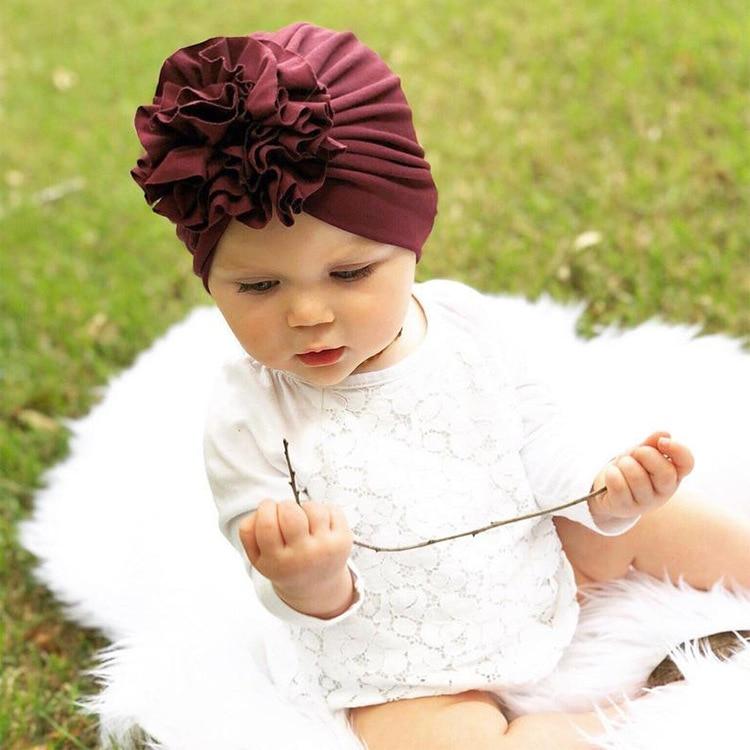 Fashion Flower Baby Girls Turban Hats Cute Kids Knot Bonnet Caps Children Photo Props Headwear Hair Accessories