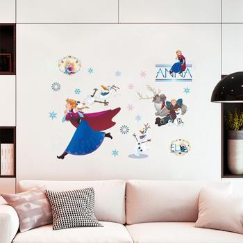 Cartoon Princess Elsa Wall Stickers for Kids Rooms Girls Bedroom Poster Vinyl DIY Mural Art Adesivo de parede Decal Baby Nursery 28