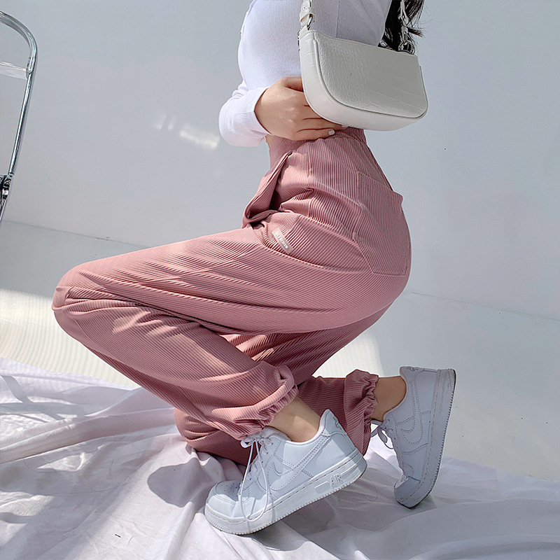 Summer Thin Sports Pants Women Loose Tie Feet Thread Wide Leg Pants Korean Casual High Waist Straight Trousers Sports Bottoms