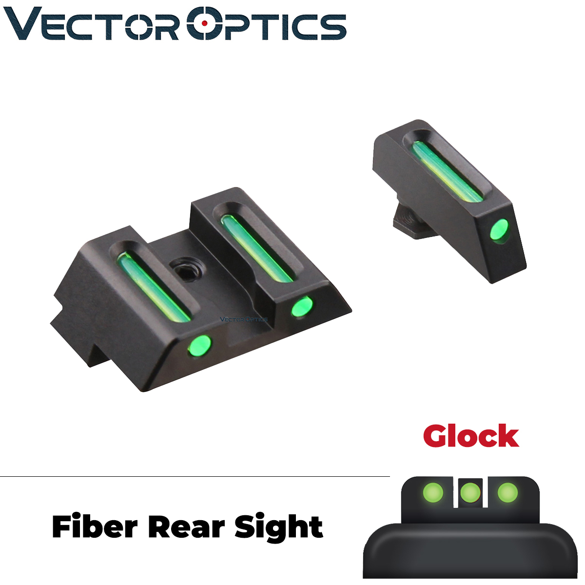 Vector Optics Handgun Pistol Front Rear Fiber Optic Combat Sight Combo Green Fit Glock Models G17 G19 Etc.
