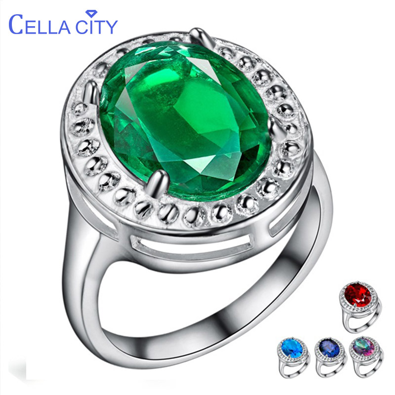 Cellacity Classic Silver 925 Ring For Charm Women With Round Emerald  Ruby Aquamarine Sapphire Gemstones Wholesale Size 6-9