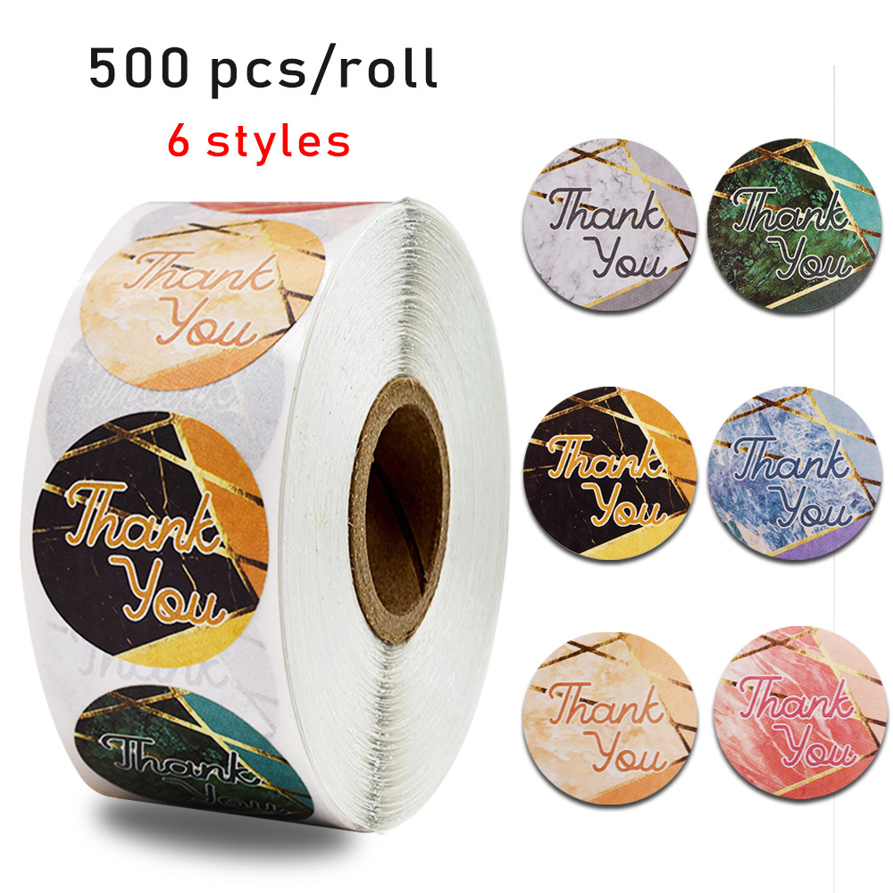 Marble Paper Thank You Sticker For Seal Label 500pcs 1 Inch 6 Designs Scrapbooking For Gift Packaging Sticker Stationery Sticker
