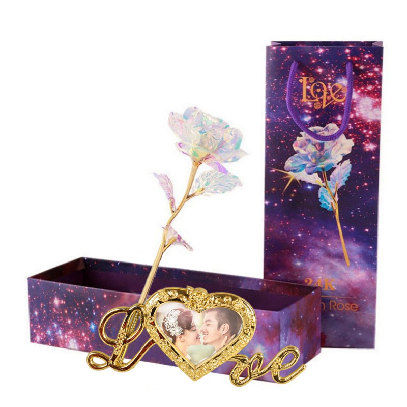 Foil-Rose Photo-Base Nude-Flowers Gold -'s-Day-Gift Valentine Gift-Box Colorful Creative title=