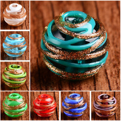 5pcs 14mm Round Clew Shape Handmade Lampwork Glass Loose Beads for Jewelry Making DIY Crafts Findings