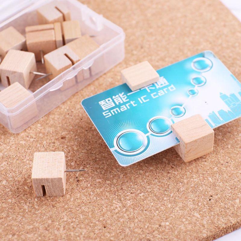 6/12pcs Wooden Square Nail Thumbtack Board Pins Pushpins Drawing Photo Wall Stud