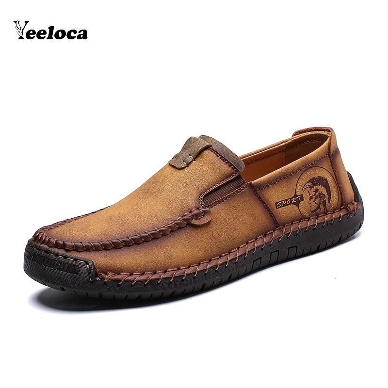 Confortable en cuir véritable hommes chaussures décontractées mocassins homme qualité Split chaussures hommes appartements conduite mocassins mocassins taille 38-48