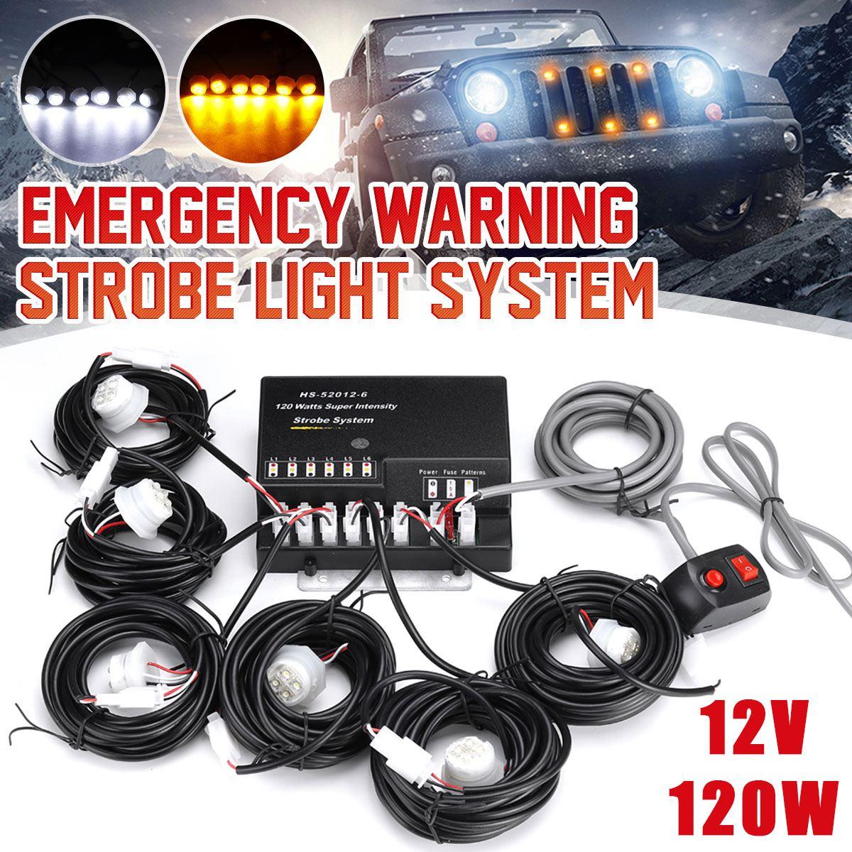 12V 120W voiture cacher loin avertissement de danger d'urgence Flash stroboscopes Kit de système de lumière 6 pièces ampoule LED Kit de phare