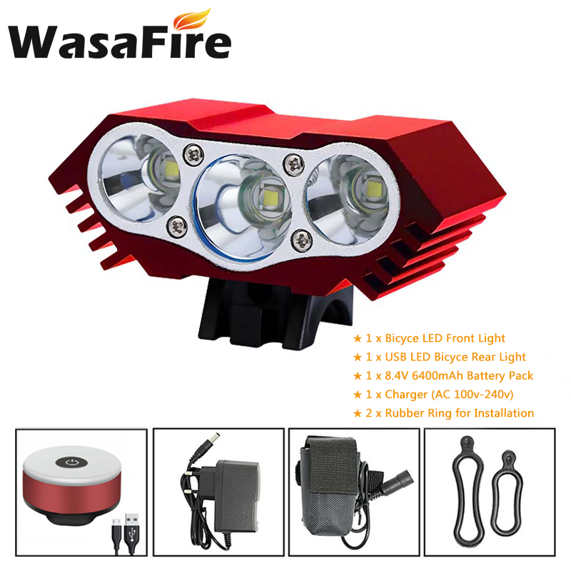 3*T6 LED Bicycle Front Light 4 Modes Headlight 18650 Battery Cycling Flashlight + USB Bike Rear Back Lights Warning Lamp