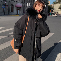 Winter jacket parkas 2019 winter new women's fashion large fur collar hooded thick cotton down jacket Russian winter coat