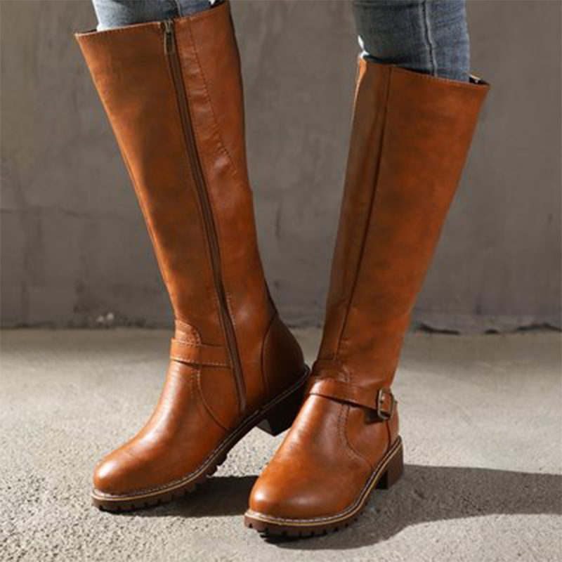Women Leather Knee High Boots Women