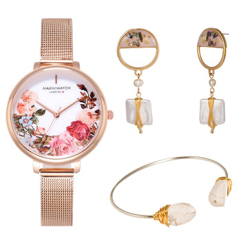 3pcs / Set Luxury Bracelet Earring Jewelry Suit Pink Brand Flowers Womens Watches Mesh Stainless Steel Watch Women Wristwatch