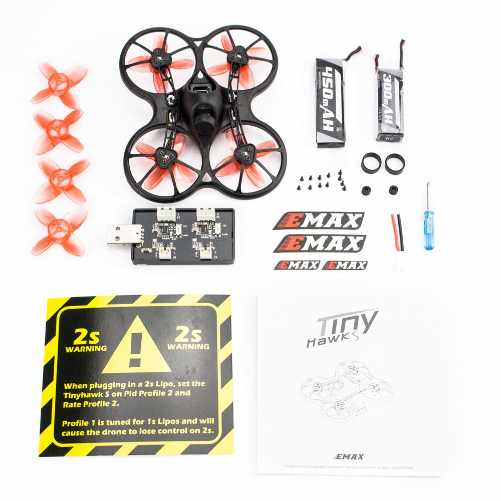 Official Emax 2S Tinyhawk S FPV Racing Drone Kit With Camera 0802 15500KV Brushless Motor Support 1/2S Battery RC Plane (BLACK)