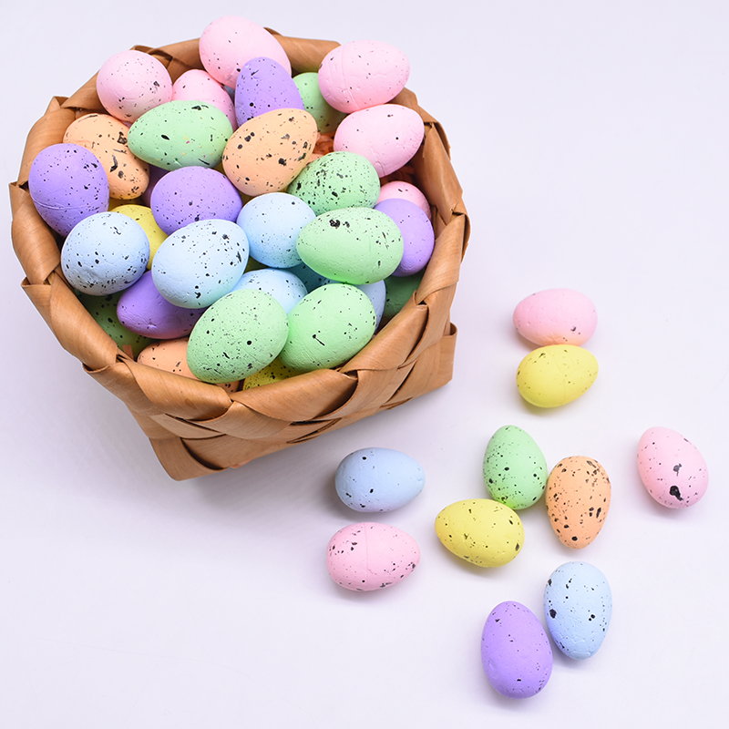 10/20/30Pcs 3x4cm Artificial Painted Foam Bird Pigeon Eggs Colorful Egg Ornament Easter Decoration Festival Party Gifts Kids Toy