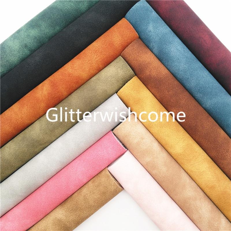 Ткань Glitterwishcome 21x29 см, Размер A4, двухцветная замша, искусственная кожа, листы с фетровой подкладкой для бантов, GM962A