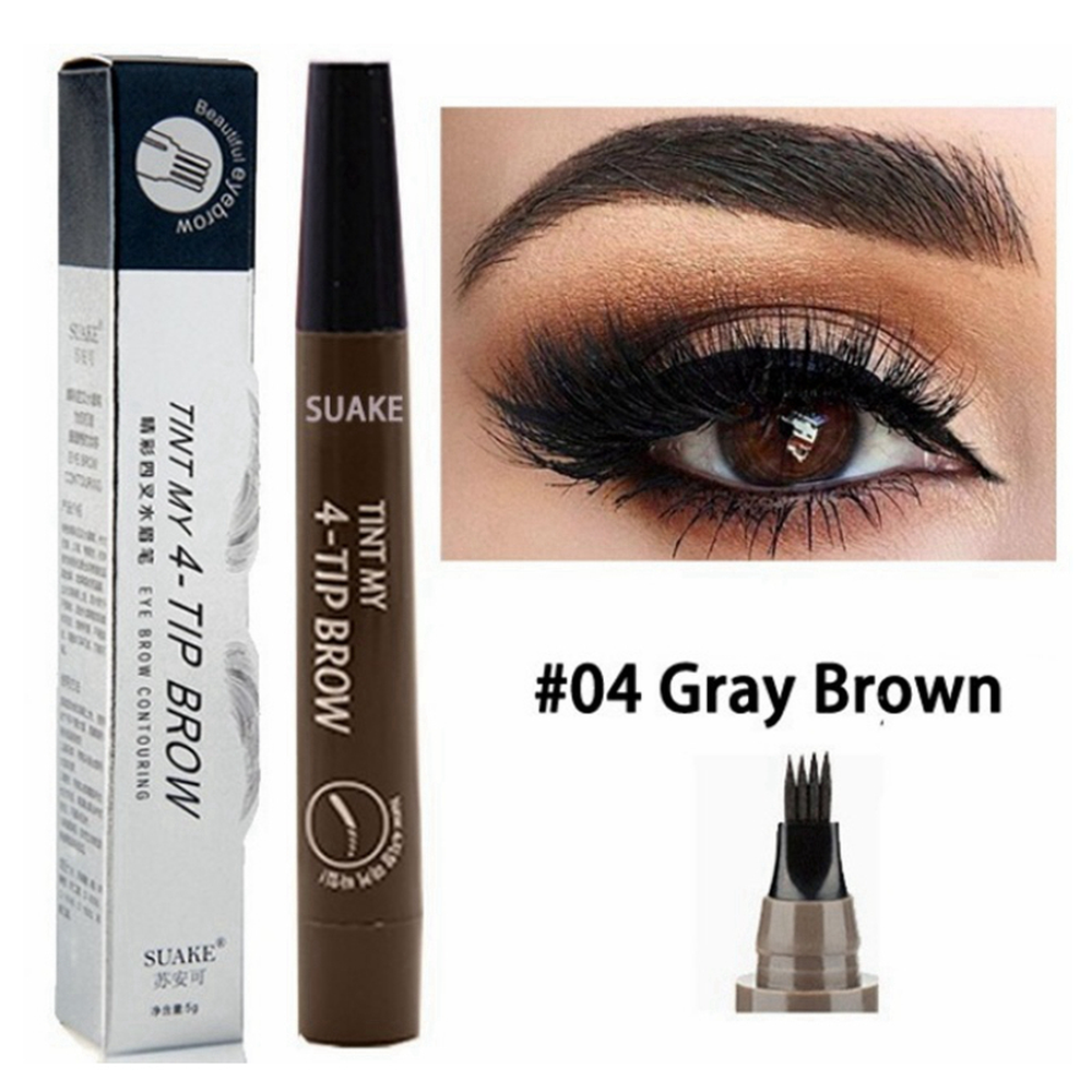 Hot Selling Eyebrow Pen Waterproof 4 Fork Tip Eyebrow Tattoo Pencil Long Lasting Professional Brown Black Liquid Eye Brow Pencil 4