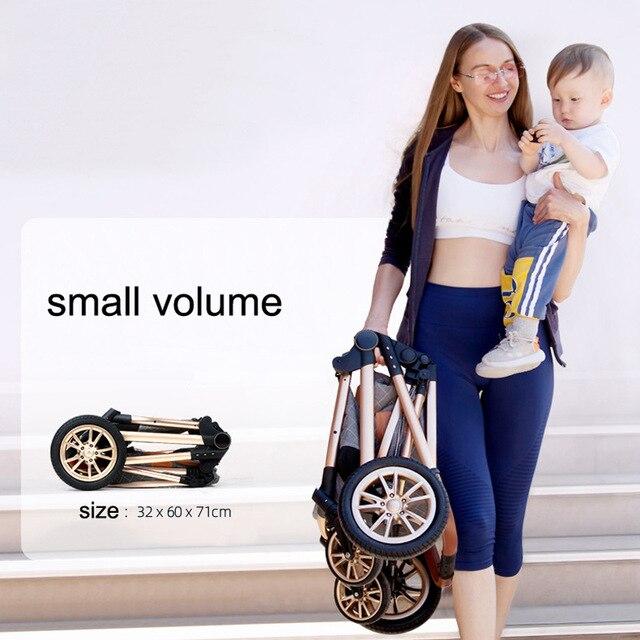3 em 1 carrinho de bebê luxo alta paisagem carrinho de bebê portátil carrinho de bebê kinderwagen bebê berço dobrável carro novo 4
