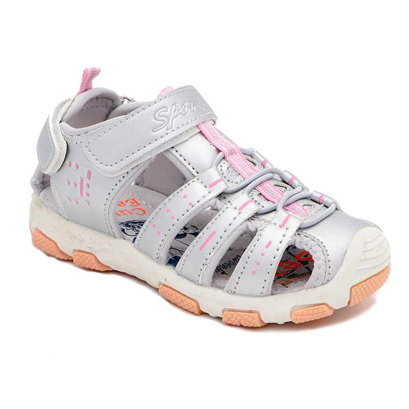 Elegant Girls Sandals Summer Fashion Cutout Rubber Bottom Children Shoes New Studant Sport Shoes Closed Toe Girls Sandals