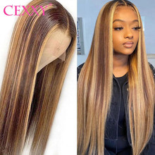 Cexxy 13x4 perucas do cabelo humano da parte dianteira do laço para a mulher #4/27 destaque ombre cabelo 4x4 fechamento perucas do laço mel loira 180% densidade