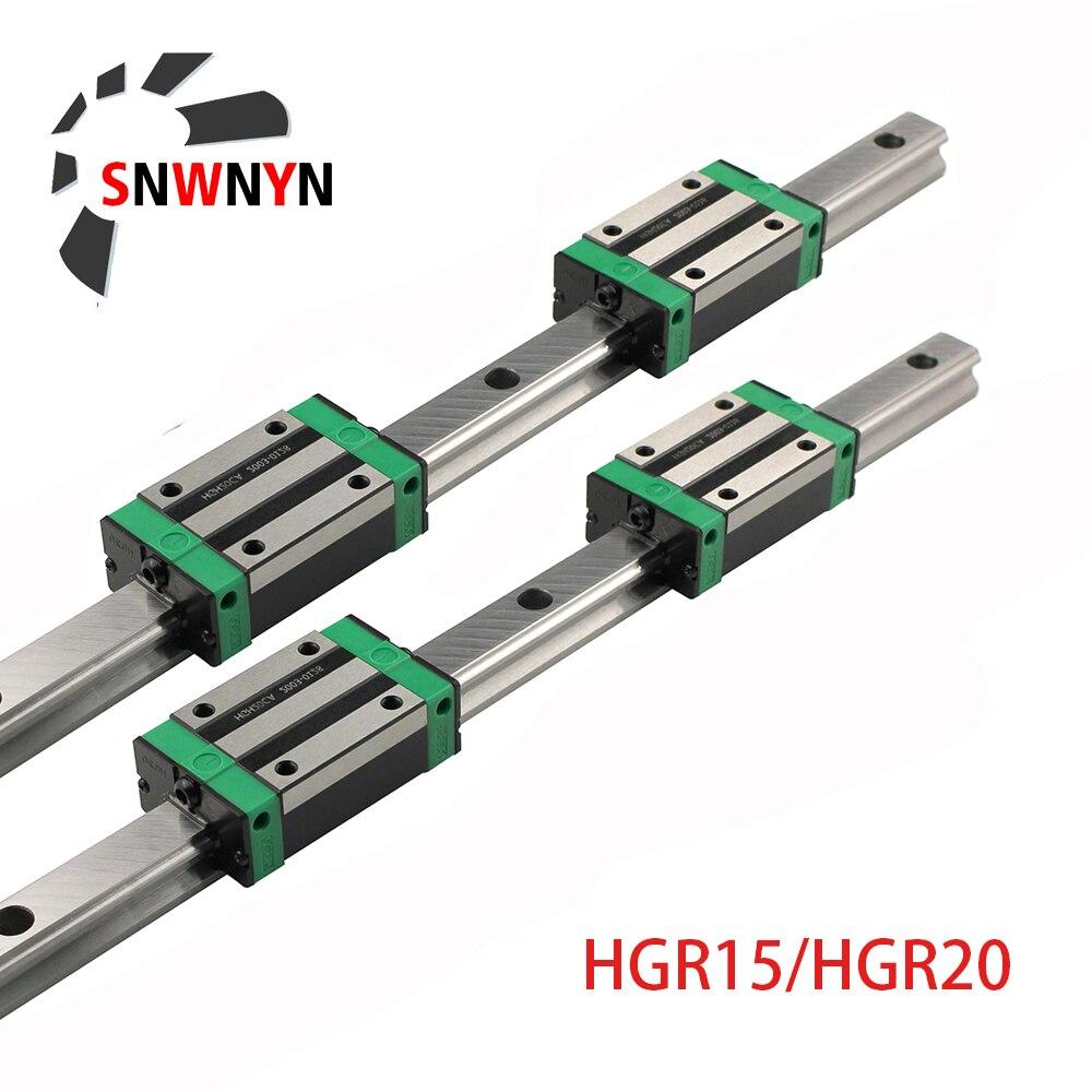 Квадратная направляющая HGR20 HGR15 HGR25, 2 шт. + 4 шт. HGH20CA/HGW20CC HGH15CA Flang, тележки для фрезерного станка с ЧПУ и гравировкой