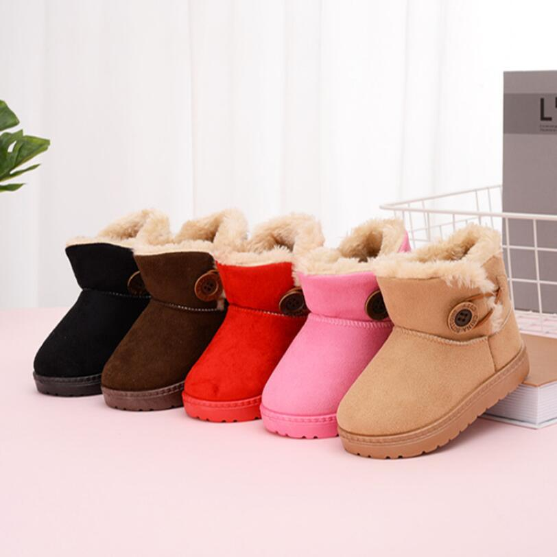 Turned-over Baby Plush Children Boots For Boys Girls 2019 Artificial Fur High Top Keep Warm Kids Shoes Not Smooth