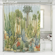 Green Tropical Plants Shower Curtain For Bathroom Waterproof Print Cactus Succulents Bath Curtain With Hooks 3D Shower Curtains