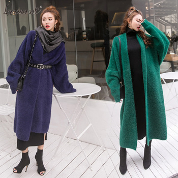 Synthetic Mink Cashmere Sweater Cardigan Women Korean Winter Coat Batwing Sleeve Knitted Long Thick Plus Size Sweaters