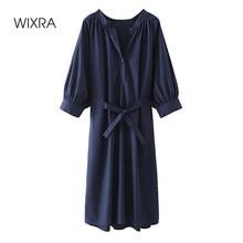 Wixra-Vestidos rectos de cuello redondo para mujer, fajas de manga larga, ropa de media pantorrilla, estilo urbano, primavera y verano, 2021