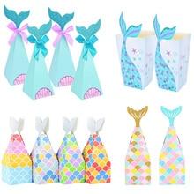 Boîtes à bonbons en papier en forme de queue de sirène, sacs cadeaux, boîtes à Popcorn, décoration de fête d'anniversaire, petite sirène pour enfants, fournitures de réception-cadeau pour bébé, 10 pièces