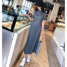 fold Dress Long style Half collar Straight skirt 2019 summer Big code Skinny Dress gray Black dress цена