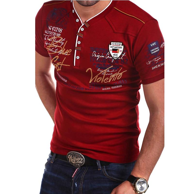 ZOGAA Brand New Mens Shirts Short Sleeve Fashion V-neck Cotton Polo Shirts Slim Fit Men Tops Casual Male Shirt Printed Tees