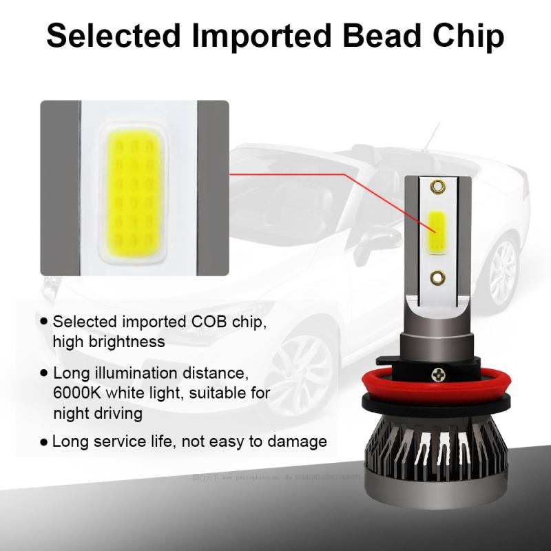 1pcs  Mini H11 LED Headlight Conversion Kit COB Bulb 90W 12000LM White High Power 6000K Car Accessories Hot Sale