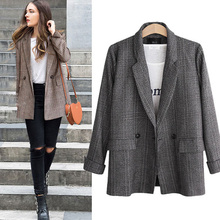 цена Moxeay Women Plaid Blazer Jacket Retro Suits Coat Pocket Vintage Jacket Long Sleeve Female Linen Loose Blazer Office Ladies 2019