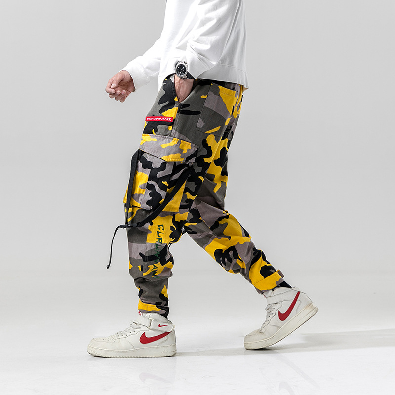 Harem Pants Camouflage Men Cargo Pant Tactical Streetwear Pant Yellow Casual Camo Trousers Multi Pocket 2020 Spring WK219