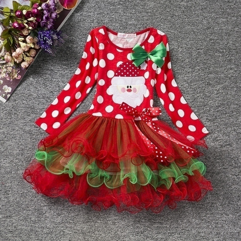 Hd736f10e3b7e4fd2907f1c18ffbd0e4dX New Year Baby Girl Christmas Dress Girl's Merry Christmas Dress Children Kids Cotton Dot Dress Girls Tutu Santa Clus Costume