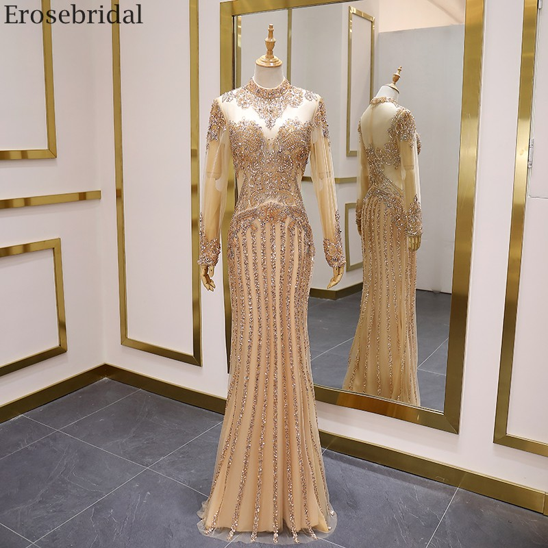 Erosebridal Luxury Beads Long Sleeve Prom Dress 2020 New Champange Evening Dress High Neck Sexy See Through Body Party Gown