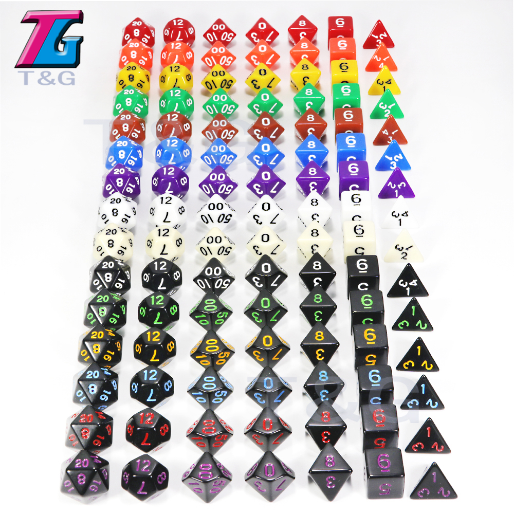 Top Quality 15 Colors 7Pcs/Set Acrylic Polyhedral TRPG Games For Dungeons Dragons Opaque D4-D20 Multi Sides Dice Pop For Game