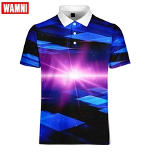 WAMNI Brand Quick Drying Business 3D Polo Shirt Sport Loose Harajuku Multi-color Stripe Casual Streetwear Badminton T Shirt plus multi stripe longline shirt