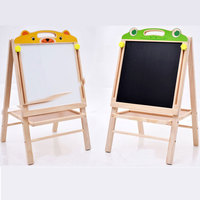 Kids Drawing Board Easel Learning Toy Non Toxic Safe Arithmetic Drawing Board Solid Wood Double Sided Magnetic Blackboard Toys