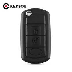 KEYYOU Folding Flip Remote Key Case Fob 3 Button Fob For LAND ROVER Range Rover Sport LR3 Discovery