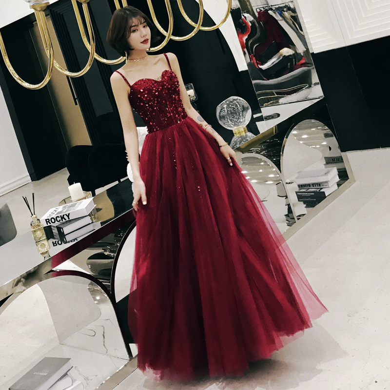 Sexy Red   Prom     Dresses   2019 Vestidos De Fiesta Largos Sweetheart Tulle Cocktail   Dress   With Spaghetti Straps Vestido Longo Baile