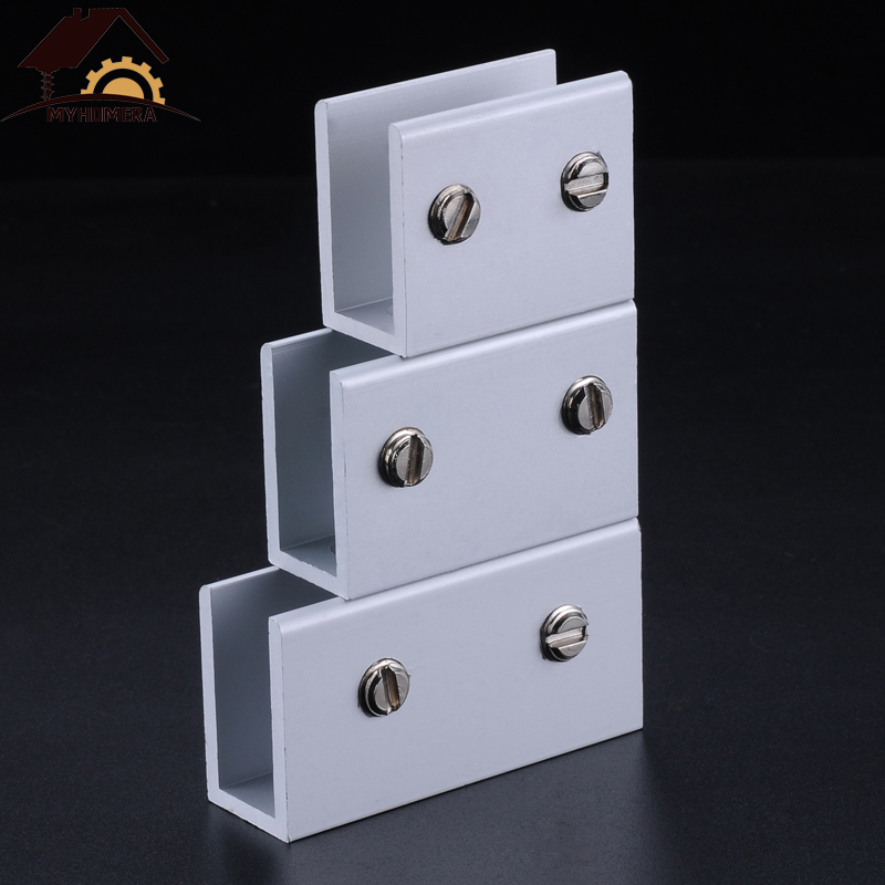 Myhomera Glass Clamps Glass Support For 10/12/18/20mm Glass Clips Board Shelves Holder Corner Bracket Clamp Aluminum 6 Sizes