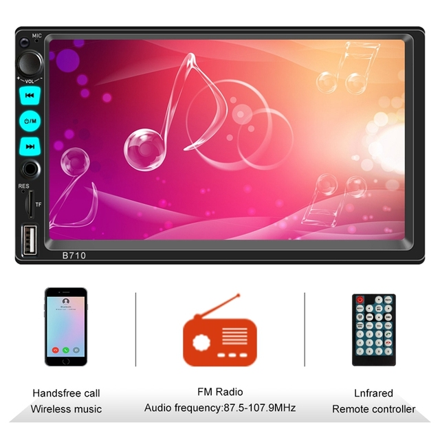 Double Din Car Stereo with Bluetooth, 7 Inch Press Screen Car Stereo with Mirrorlink Car Radio Support Steering Wheel Control,US