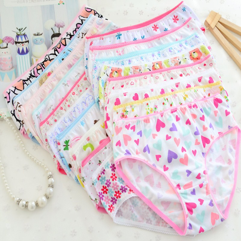 12Pc/Lot  Baby Girls Underwear Cotton Panties Kids Short Briefs Children Underpants 2-12Y 4