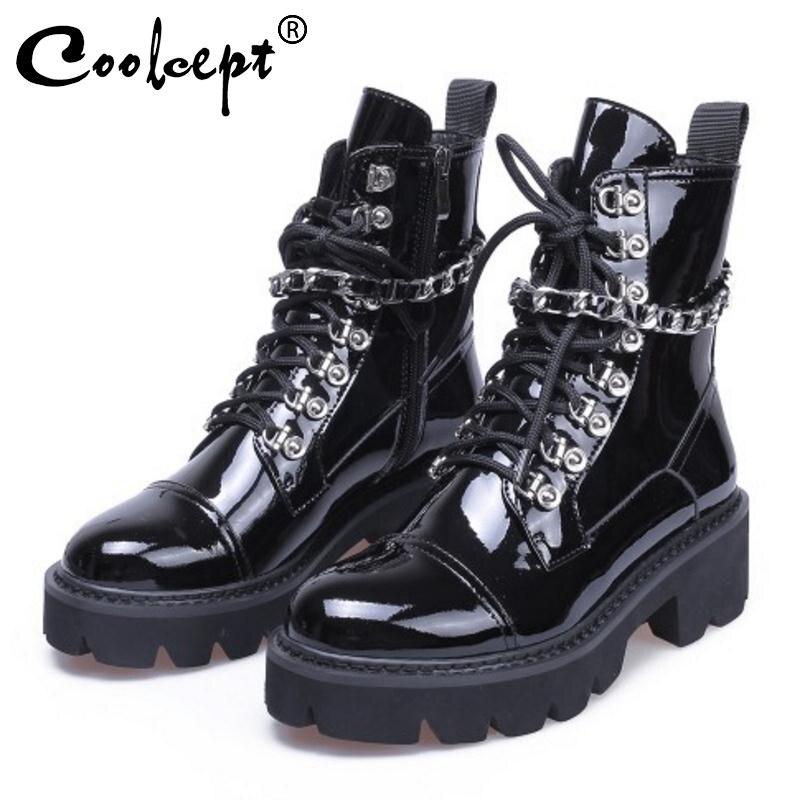 Coolcept Frauen High Heels Stiefeletten Winter Patent Echtem Leder Plattform Schuhe Frau Designer Gothic Stiefel Größe 34 39-in Knöchel-Boots aus Schuhe bei  Gruppe 1
