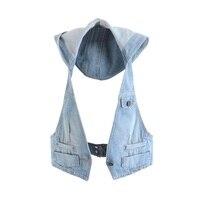Women Brand New Hooded Vest Short Slim All match Cardigan Sleeveless Demin Waistcoat Korea FashionOutwear Jacket&Coat MJ0025