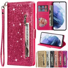 Fashion Glitter Leather Wallet Card Slots Flip Case For Samsung Galaxy S21 S21Plus S21Ultra S21FE S20/S10/S9 Plus Note 20 Ultra