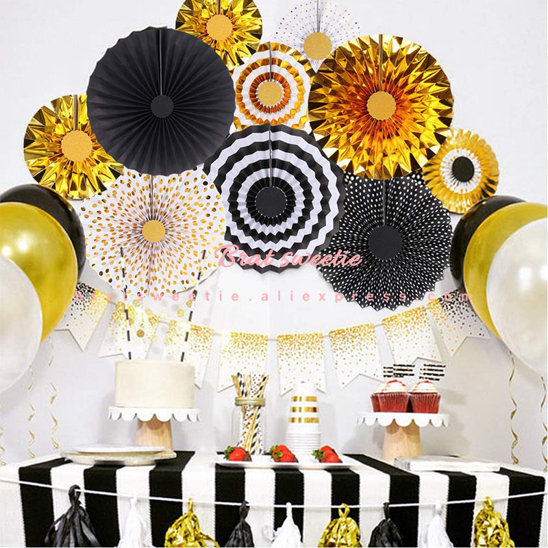 12pcs/set Gold Balck Party Hanging Paper Fans EID MUBARAK Party Ceiling Hangings Adult 30th Birthday Party Decorations Supplies