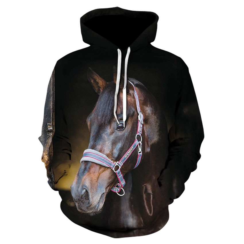 Cool Men's Animal Casual Long Sleeve Hooded Sweatshirt 2020 Stylish Personality Horse Head Animal Print Hoodie